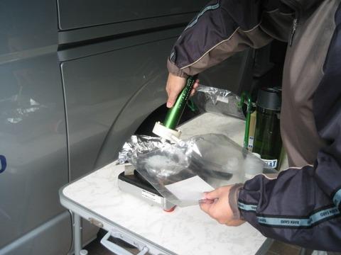 クラレプラスチック テーブルテスト4 ガス採取風景